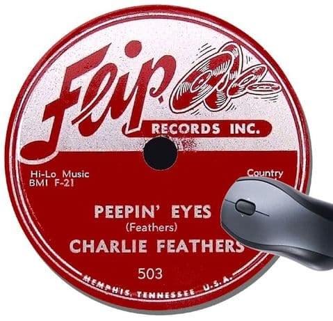 Flip Records Record Label Round Mouse Pad. Charlie Feathers Rockabilly Rock N' Roll Mouse Mat
