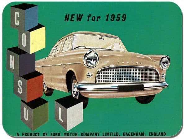 Ford Consul Vintage Advert Mouse Mat. Classic Car Mouse pad Brochure Advertising