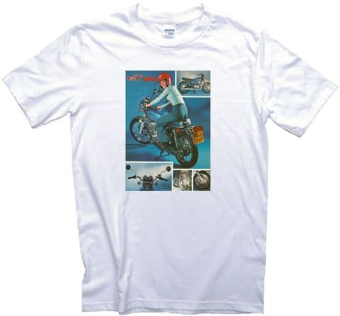 GT 500 Ad Motorcycle T-Shirt. 13 Sizes. Vintage 70s Motorbike British Brochure T