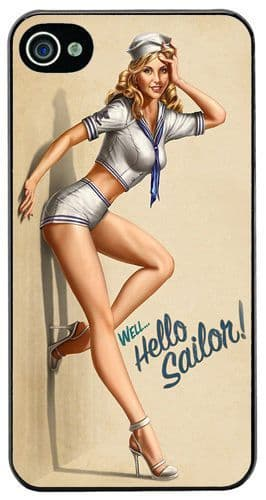 Hello Sailor Vintage Pin Up Girl Poster High Quality Cover/Case Fits iPhone 4/4S