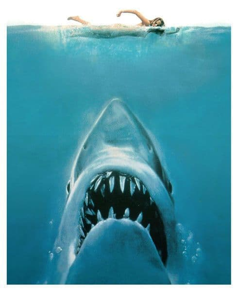 Jaws Classic Movie Poster T-Shirt. Gents, Ladies & Kids Sizes. Horror Movie