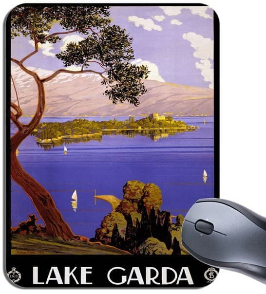 Lake Garda Italy Vintage Travel Poster Mouse Mat. High Quality  Mouse Pad