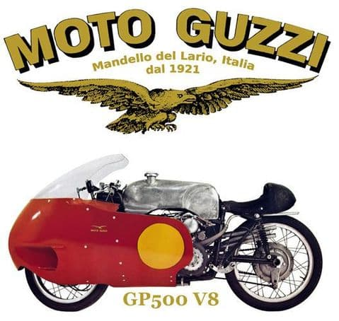 Moto Guzzi GP500 V8 Motorcycle T-Shirt. Gents, Ladies & Kids Sizes. Biker