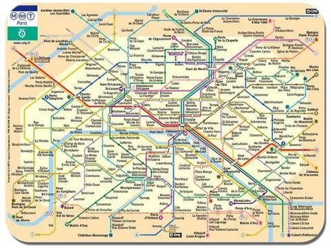 Paris Metro Map Mouse Mat. Le Metro De Paris Poster Mouse Pad. Underground Train