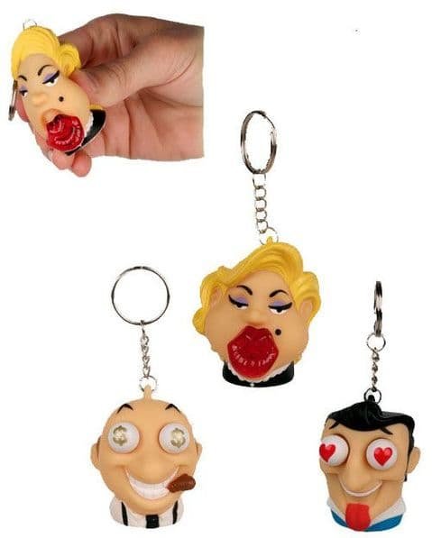 Pop Out Squeeze Key Ring: Cool Faces. Set of 3
