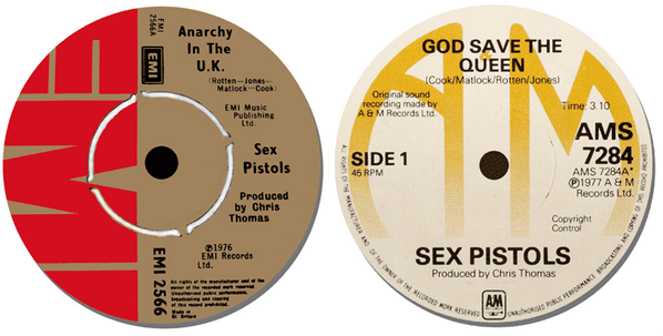Sex Pistols Record Label Coasters Set Of 2. Anarchy In The UK High Quality Cork.
