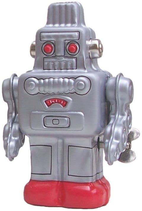 Silver Wind Up Robot. Made In Japan