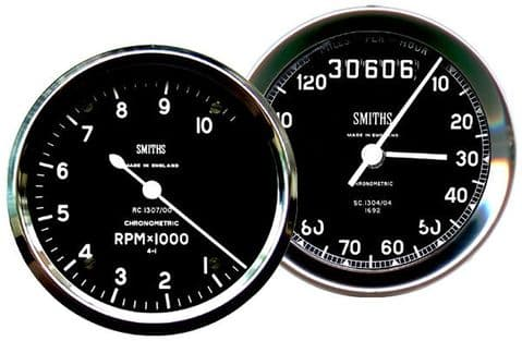 Smiths Speedometer & Rev Counter Drinks Coasters Set Of 2. Cork. Not Real Clocks