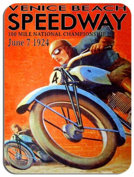 Speedway Motorcycle Race Mouse Mat. Venice Beach 1924 Motorbike Advert Mouse pad