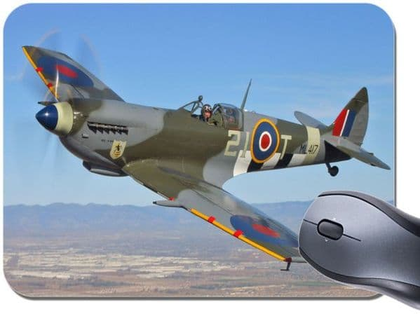 Spitfire Fighter Plane Mouse Mat. Aeroplane Airplane Aircraft Mouse Pad