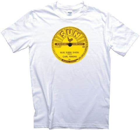 Sun Records Rockabilly Record Label T-Shirt Carl Perkins Blue Suede Shoes Adults Ladies Kids Sizes