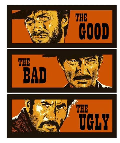 The Good The Bad and The Ugly Clint Eastwood T-Shirt. Gents, Ladies & Kids Sizes