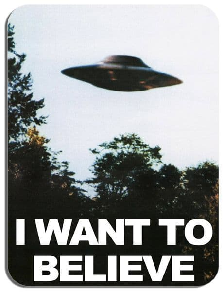The X-Files I Want To Believe Mouse Mat. Classic Science Fiction Television Show Mouse Pad