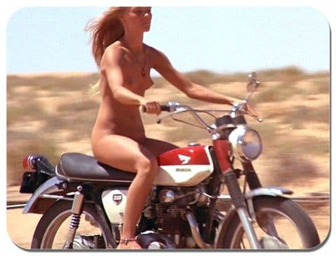 Vanishing Point Girl on a Honda Motorcycle Mouse Mat