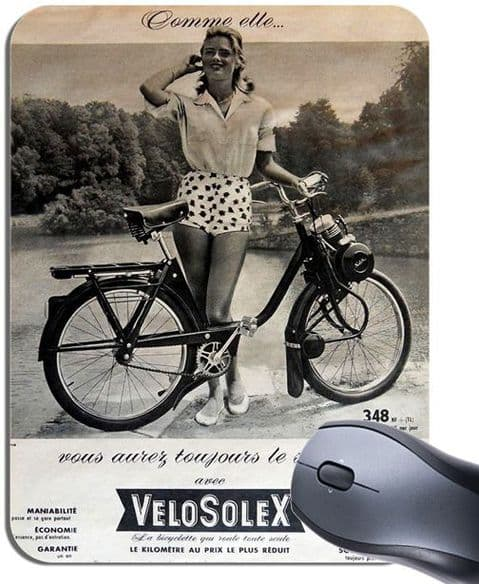 VeloSolex  Mouse Mat. Vintage French Moped Bike Advert Motorcycle Mouse Pad Gift