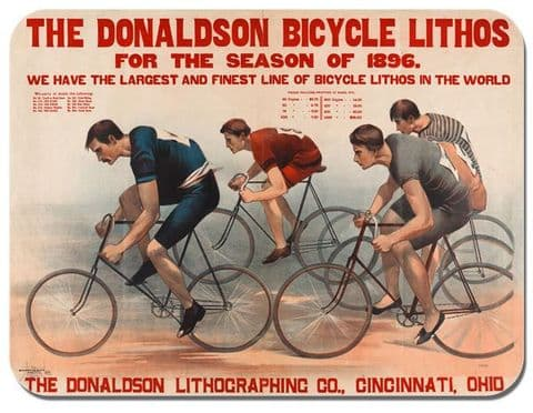Vintage Bicycle Race Mouse Mat. Donaldson lithos Cycling Poster Bike Mouse pad