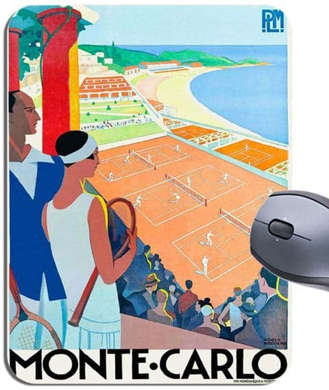 Vintage Monte Carlo French Riviera Poster Mouse Mat. Art Deco Tennis Mouse Pad