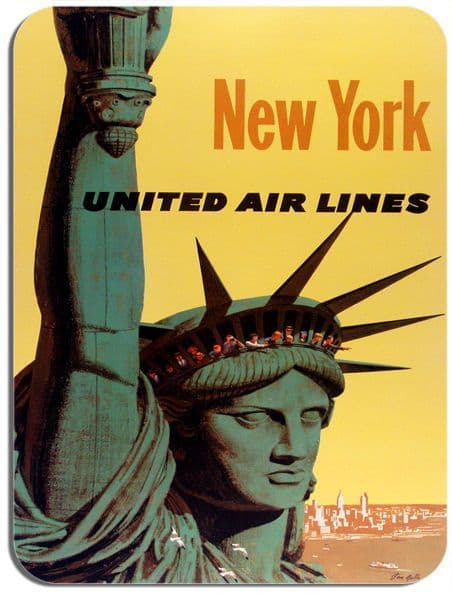 Vintage New York Travel Poster Mouse Mat. Statue of Liberty Stan Gilli Mouse Pad