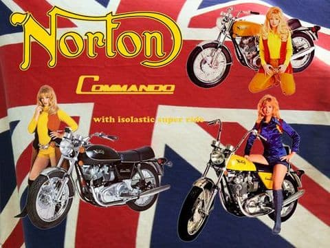 Vintage Norton Commando Motorcycle T Shirt. British Union Flag Classic Motorbike Tee