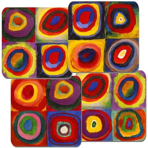 Wassily Kandinsky Farbstudie Quadrate Coaster Set Of 4. Squares with Circles