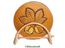 Bespoke Hand carved Leather Conker Coaster Set