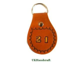Birthday Leather Key Fob 21 or 18