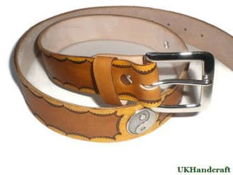 Hand Tooled Leather Belt with Jin Jang Conchos