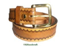 Handmade Leather Tooled Belt Tan