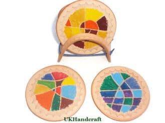Kaliedescope Colour Leather Coaster Set