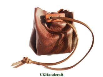 Large Leather Drawstring Pouch