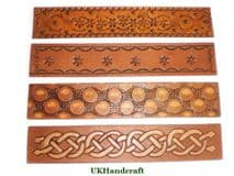 Leather Bookmarks - Decorated Celtic Knot, Daisy, Nature Print, Bubbles