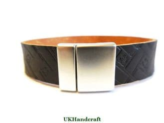 Leather Bracelet Band - Brickwork Black or Bordeaux