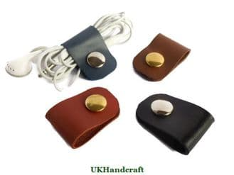 Leather Ear Bud Cable Organizer Holder