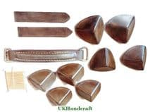 Leather Gun Case Corners, Handle and Securing Straps for RH