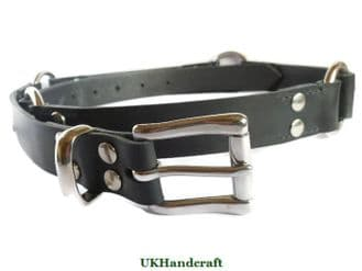 Metal Decorated Black Leather Belt