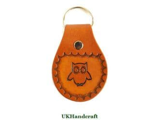 Owl Leather Key Fob