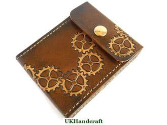 Steampunk Leather Playing Card Case - Snap Closure