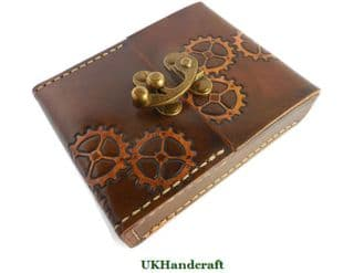 Steampunk Leather Playing Card Case with Swing Clasp