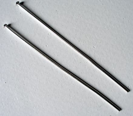 100 Head pins Silver plated thick semi-hard 50mm.