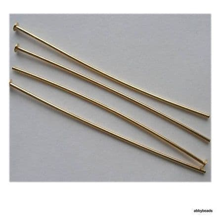100 Headpins 50mm Gold plated thin hard  top quality. Nickel and lead free