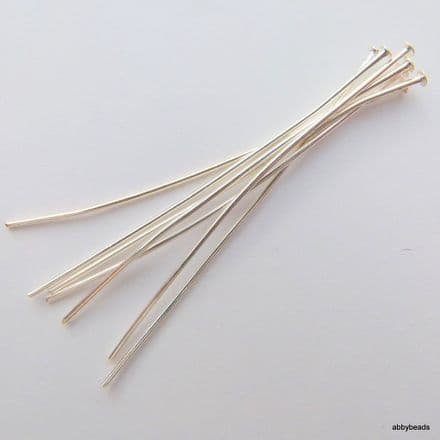 100 Headpins Silver plated thick hard 0.8 mm wire 50 mm long. top quality
