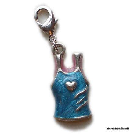 Blue Vest charm with heart motif. Enamelled on silver plate.