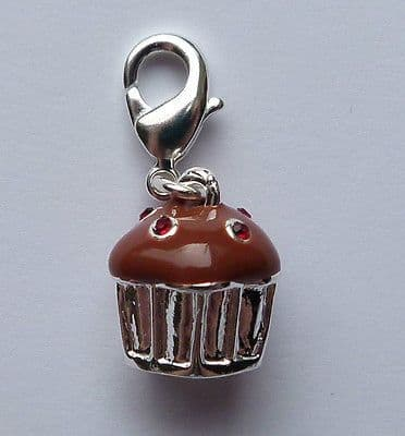 Clip on charm for bracelet or hand bag. Chocolate and silver cup cake.
