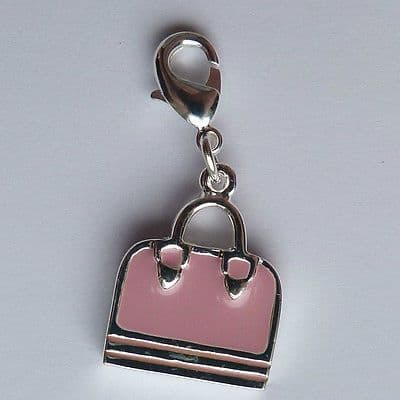 Clip on charm for bracelet or hand bag. Silver and pink handbag 30mm
