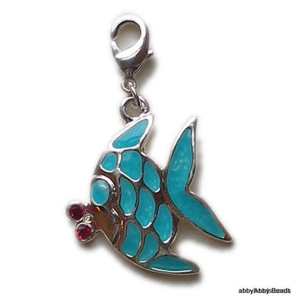Fish charm enamelled blue Silver Plated. 22mm nose to tail.