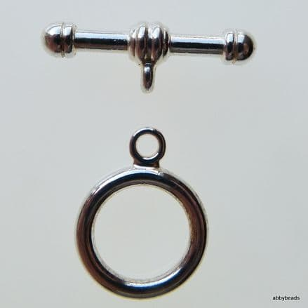 Toggle clasp 17mm Silver plated. Pack of 2 pr.