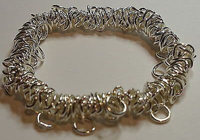 Stretchy bracelet Silver plated multi looped elasticated