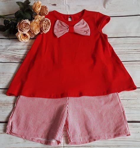 Baby Girl Red Bow Top and Shorts Set Oufit Was £14.99