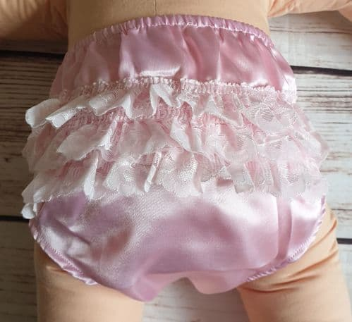 Baby Girls Pink Frilly Satin Lace Pants Over Nappy Knickers