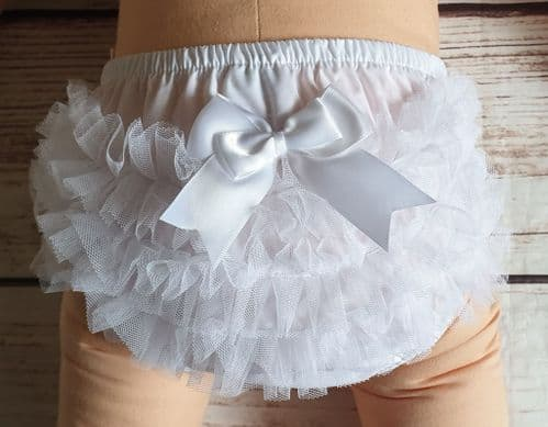 Baby Girls  White Frilly Cotton Lace Pants Over Nappy Bow Knickers